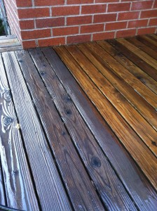 Pressure washing Logan. We pressure washed this wood deck and re-stained it for our client.